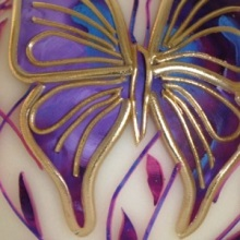 Decorative candle - violet butterfly, sphere