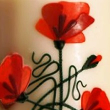 Decorative candle - poppies