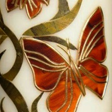 Decorative candle - yellow butterflies