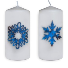 Christmas candless - snowflakes (blue) (2)