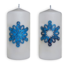 Christmas candless - snowflakes (blue)