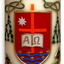 Candle with coat of arms - bishop Piotrowski